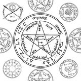 Texture with a repetitive pentacle pattern. Occult background. T Royalty Free Stock Photos
