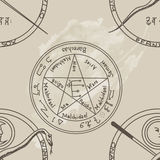 Texture with a repetitive pentacle pattern. Occult background. T Royalty Free Stock Image