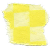Isolated Rice Paper Texture - Checkered Yellow XXXXL. Texture of rice paper checkered with bright & pastel yellow squares, with torn edges. Isolated on white Stock Images