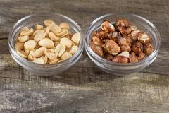 Peanuts with different processes - sugared peanuts royalty free stock photo