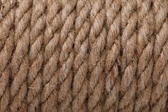Texture of a rope made of flax. Closeup Royalty Free Stock Images
