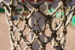 Texture of rope mesh with knots close-up. basketball Hoop net royalty free stock photography
