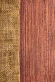 Texture rosewood with hessian Stock Photography