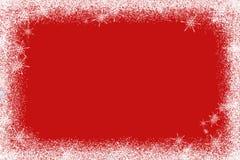 Texture rouge avec le fond de Noël de neige Vue supérieure avec l'espace de copie Photographie stock