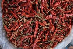 Texture rouge sèche de piments Photo stock