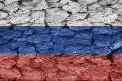 Texture of Russia flag. The texture of Russia flag  on a decorative dry tree bark Stock Image