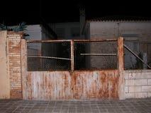 Rust door chalet stock photo