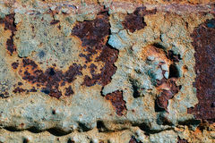 Texture of rusty iron, cracked paint on an old metallic surface, sheet of rusty metal with cracked and flaky paint,  corrosion, de. Texture of rusty iron Royalty Free Stock Photo