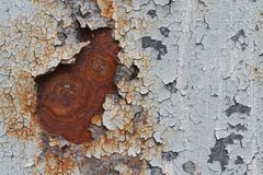 Texture of rusty iron surface with cracked paint royalty free stock photos