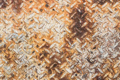 Texture of rusty old diamond plate metal Stock Photography