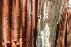 Texture and rusty zinc house fence background Stock Images