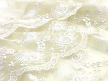 Texture sack sacking fabric and white lace background. Beautiful texture sack sacking fabric and white lace background stock image