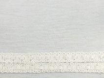 Texture sack sacking fabric and white lace Royalty Free Stock Photo