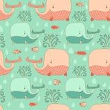 Texture sans couture élégante avec la baleine gribouillée de bande dessinée Images stock