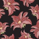 Texture sans couture avec des fleurs sur un fond noir Illustration Stock