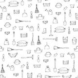 Croquis Sans Couture Avec Des Outils De Jardinage Illustration de ...