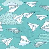 Texture sans couture avec les avions de papier Images stock