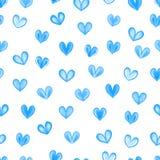 Texture sans couture avec les coeurs bleus d'aquarelle illustration stock