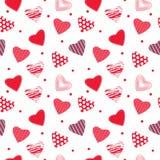 Texture sans couture avec les coeurs rouges Images stock