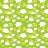 Texture sans couture avec les nuages et le soleil Photos libres de droits