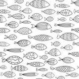 Texture sans couture avec les poissons stylisés Impression pour des textiles Illustration noire et blanche pour le papier peint Photographie stock