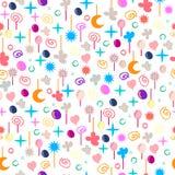 Texture sans couture cosmique de modèle avec le coeur, la lune, les étoiles, la bulle et les fleurs Textile de vecteur, s'envelop illustration stock