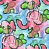 Texture sans couture d'enfance de textiles de fleur d'éléphant rose d'aquarelle pour votre art de papier peint d'affaires Image stock