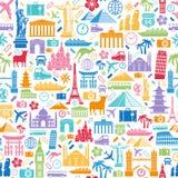 Texture sans couture d'icônes de voyage Images libres de droits