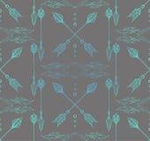 Texture sans couture de Boho avec des flèches et des plumes de griffonnage Image libre de droits