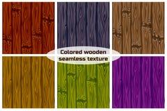 Texture sans couture de fond de grand ensemble colorée en bois Photographie stock libre de droits