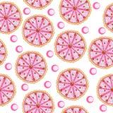 Texture sans couture de gâteau de fraise, fond de gâteau d'anniversaire Cuisson avec le papier peint de fraise Illustration de ve Photos stock