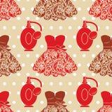 Texture sans couture de mode avec les robes et le parfum. Photographie stock