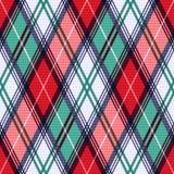 Texture sans couture de tartan rhombique dans des tonalités de rouge et de turquoise Photo stock