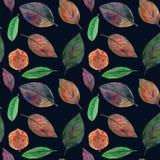 Texture sans couture des feuilles colorées peintes dans l'aquarelle illustration de vecteur