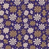 Texture sans couture des fleurs peintes sur un pourpre Images stock