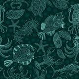 Texture sans couture des fruits de mer sur un fond vert-foncé Photo stock