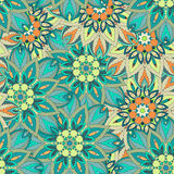 Texture sans couture florale fleurie, modèle sans fin avec des éléments de mandala de vintage illustration de vecteur