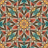 Texture sans couture florale fleurie, modèle sans fin avec des éléments de mandala de vintage illustration stock