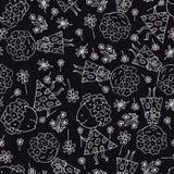 Texture sans couture, fond des dessins des enfants Configuration sans joint noire illustration stock
