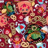 Texture sans couture lumineuse sur le thème de la boisson russe de thé, fond rouge, disposition aléatoire des éléments photos stock