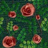 Texture sans couture originale avec l'image des roses et des feuilles photographie stock libre de droits