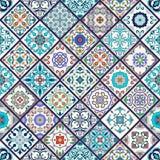 Texture sans joint de vecteur Beau modèle méga de patchwork pour la conception et mode avec les éléments décoratifs Photo stock