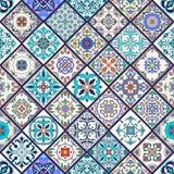 Texture sans joint de vecteur Beau modèle méga de patchwork pour la conception et mode avec les éléments décoratifs Images libres de droits