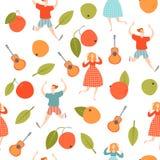 Texture sans joint Temps de moisson Les personnages de dessin animé drôles dansent à un festival de récolte Pommes en baisse illustration stock