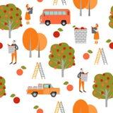 Texture sans joint Temps de moisson Les personnages de dessin animé drôles sélectionnent des pommes dans le jardin illustration stock