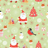 Texture of Santa Claus with gifts. Seamless pattern of the fun of Santa Claus with gifts and bullfinches on a green background with snowflakes Stock Illustration