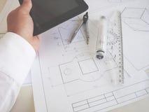 Texture school desktop or designer. Engineer Stock Photos