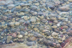 Texture of sea surface and pebbles. Texture of transparent sea water and pebbles Stock Image