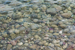 Texture of sea surface and pebbles. Texture of transparent sea water and pebbles Royalty Free Stock Photo