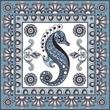 Graphic illustration with ceramic tiles 23. Texture with seahorse hippocampus. Seafood background. Ceramic tile with Spanish, Portuguese Azulejo or Russian Gzhel Stock Photo